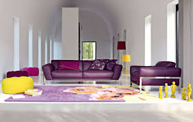 Purple Living Room Designs Modern Living Room Design With Bookshelf And Open Plan Decoration