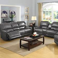 picture of prescott grey leather reclining sofa console loveseat