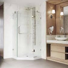 bathroom corner shower. Frameless Neo Angle Shower Door In Brushed Nickel Bathroom Corner