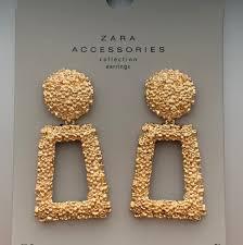 Zara Golden Raised Design Earrings New Golden Raised Design Zara Earrings Come In Depop