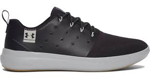 under armour men s ua charged 24 7 low leather shoes in black for men lyst