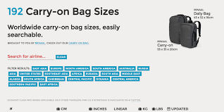 Carry On Luggage Size Chart Carry On Bag Sizes Tool Puts An End To Your Travel Stress
