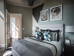 Painted feature wall design reflects the design in the rug - Guest Bedroom  Pictures From HGTV Urban Oasis 2014 on HGTV