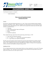 Traffic Sign Foundation Design Engineering Directive Mast Arm And Foundation Details