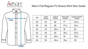 Cloth Size Chart In India Arihant Mens Cotton Full Sleeves Shirt