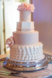 Cakes & Desserts Photos - Ruffled & Quilted Cake - Inside Weddings & Wedding cake with with white and pastel pink layers, quilted and pearl dot  pattern, Adamdwight.com