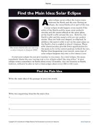 High School Main Idea Worksheet About Solar Eclipses