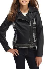 jessica simpson faux leather jacket girls 7 16 black kids girls clothing jackets coats