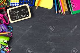 School Chalkboard Background Back To School Chalkboard Tag With School Supplies Corner Border