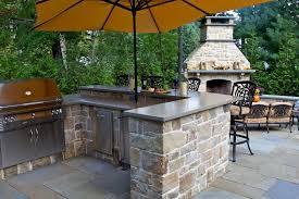 Kitchen:Traditional Outdoor Kitchen Design With High Brick Fireplace And  Sandstone Kitchen Cabinet Backyard Outdoor