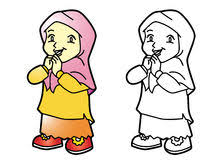 Coloring Happy Muslim Family Vector Illustration Stock Vector