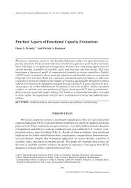 Pdf Practical Aspects Of Functional Capacity Evaluations