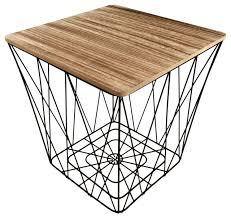2x black geometric metal wire wooden