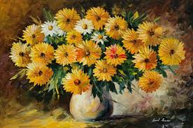 painting flowers vase bouquet hd