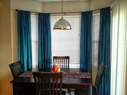 image of bay window curtain rods for tab top curtains