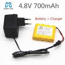 4.8v 700mah şarj edilebilir ni cd şarj aleti ile pil rc oyuncaklar için  elektrikli araba 4.8v nicd pil paketi RC tekne modeli araba  oyuncak|Parçalar ve Aksesuarlar