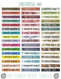 Tim Holtz Distress Mini Ink Pad Color Chart