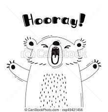 面白い 歓迎 かわいい Hooray 熊 叫び デザイン イラスト ポスター Animal Avatars うれしい カード
