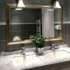 framed bathroom mirrors. Beveled Framed Mirror Bathroom Walnut Grey Satin Nickel Mirrors