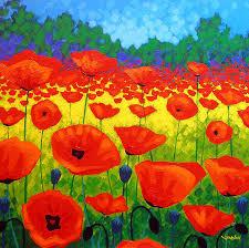 modern painting poppy field v by john nolan