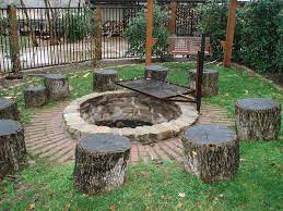 Outdoor Living Fire Pit With Stump Chairs Jpg Ideal Landscape Services