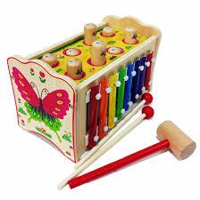 Đập chuột 2 búa kết hợp đàn hình bướm - Đồ chơi cho bé từ 1 tuổi trở lên - ĐỒ  CHƠI GỖ CON CƯNG