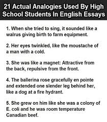 actual analogies used by students in english essays 1