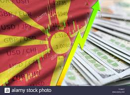 Macedonia Flag And Chart Growing Us Dollar Position With A
