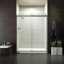 semi sliding shower door in nickel bottom track kohler n sliding door without bottom track