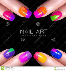Colorful Fluor Nail Polish. Art Nail With Example Text Stock Image ...