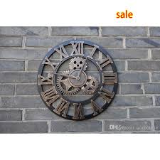 whole handmade oversized 3d retro rustic decorative luxury art big gear wooden vintage large wall clock