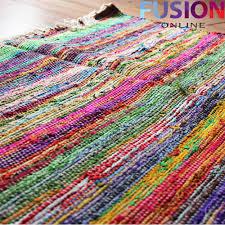 100 cotton handmade multi colour chindi rug area rag rugs flat unique rag rug uk