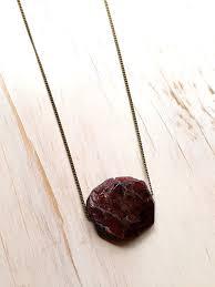 raw garnet brass chain necklace raw gemstone jewelry semi raw garnet necklace