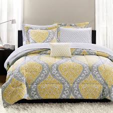 feminine damask grey and yellow bedding
