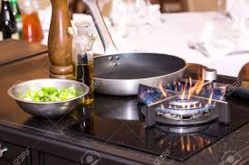 Table Gas Stove Frying Pan Kitchen Tools Stock Photo Picture And