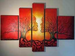 red tree abstract oil painting on canvas framed modern wall art