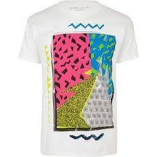 90s Pattern Shirts Extraordinary River Island White 48s Pattern Print TShirt Men's TShirts