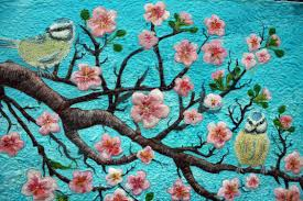 SOLD-Cherry Blossoms and Two Birds-hand painted silk art quilt ... & full art quilt Adamdwight.com