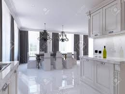 modular dining room. Classic White Kitchen-dining Room In The Style Of Art Deco. Large Dining Table Modular