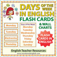 Days Of The Week Chart English Days Of The Week Flash Cards Charts