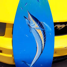 on hand painted surfboard wall art with wahoo hand painted surfboard wall art