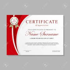 Certificate Layout Design Template Certificate Template Design With Red And White Color Certificate