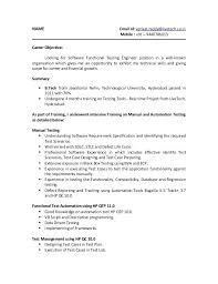 Resume Format For Software Tester Sample Resume For Software Tester