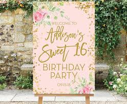 Sweet 16 Birthday Welcome Sign Printable Sweet Sixteen Party Sign