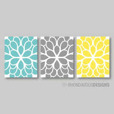 yellow grey and teal wall art
