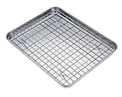 cookie sheet with cooling rack amazon com teamfar baking tray and rack set stainless steel baking