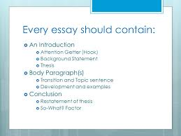 elements of an effective essay effective communication ppt  every essay should contain  an introduction  attention getter hook  background