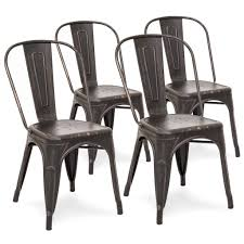 black metal dining chairs. Set Of 4 Industrial Metal Dining Chairs - Distressed Bronzed Black
