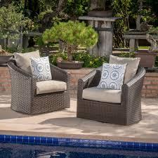 Red barrel studio dierdre outdoor wicker swivel club patio chair with cushions reviews wayfair