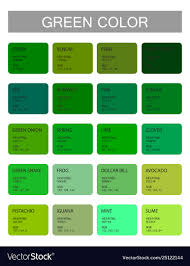 Web Color Chart Names Green Color Codes And Names Selection Colors